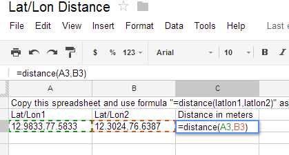 Calculate distance between a pair of lat/lon coordinates – Spatial