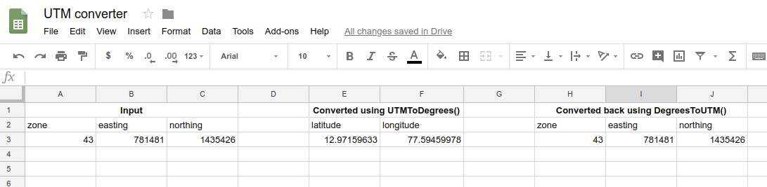 Convert between UTM and Degree coordinates using Google Spreadsheets